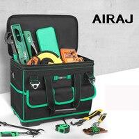 Airaj aumentando o saco de ferramentas de grande capacidade  saco de eletricista multi função  anti queda e desgastar resistente para trabalhar madeira|Bolsas ferramenta| |  -
