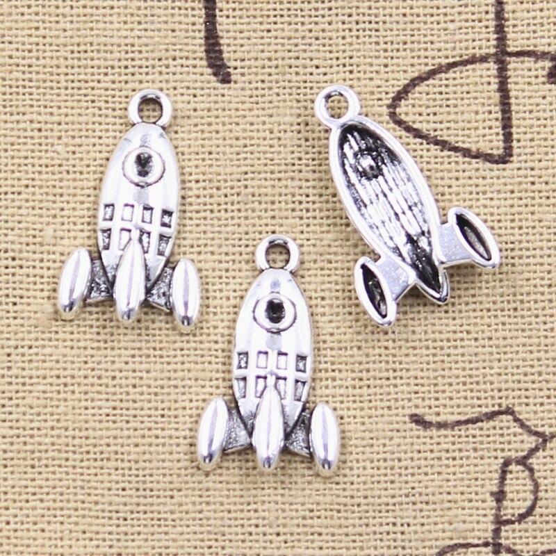 20 штук Подвески ракеты космическая ракета 23x14 мм антикварные подвески из серебра поделки своими руками, украшения своими руками, ручной раб...