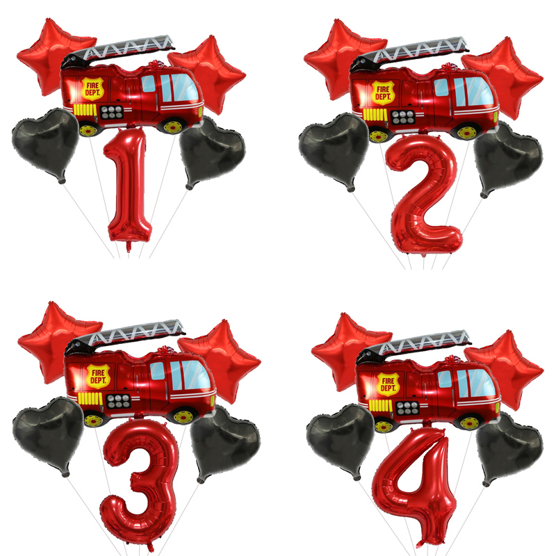 Cartoon Fireman Sam Number Balloons Set Paper Plate Fireman Party Supplies Birthday Party Christmas Disposable Tableware Set