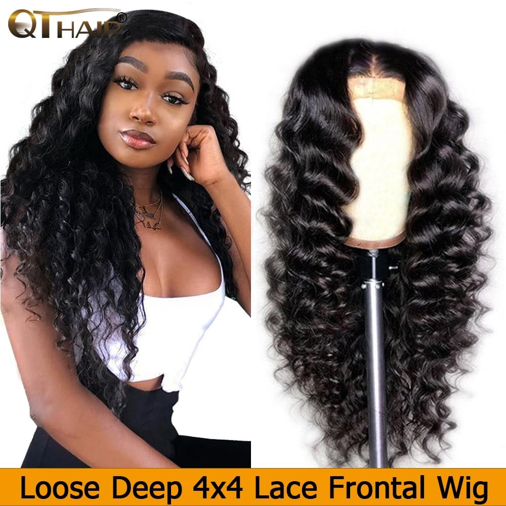 QT 4*4 Кружева Закрытие человеческих волос парики бразильские свободные глубокая волна для черных женщин предварительно сорванные Кружева Закрытие человеческих волос парик