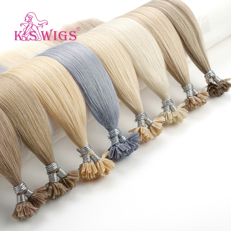 K.S WIGS 16'' 20'' 24'' 28'' Straight Remy Nail U Tip Human Hair Extensions Pre Bonded Keratin Capsules Fusion Human Hair