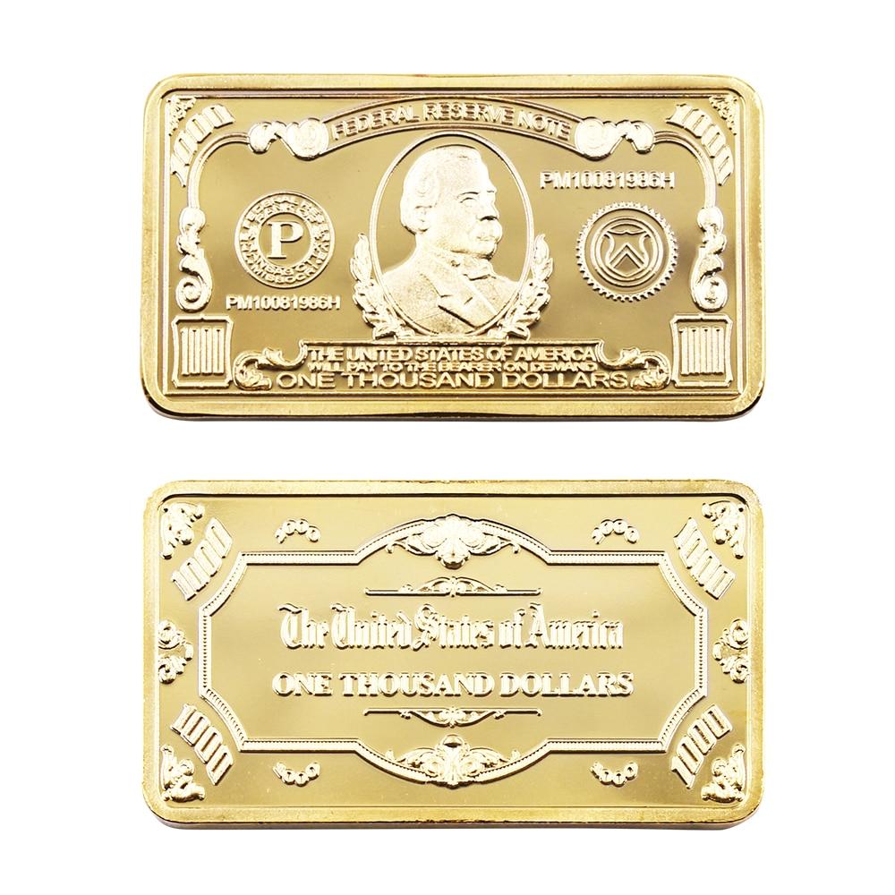 1899 Year 5 Dollar 24k Gold Plated Bar Home Decorative Metal Bars Plastic Card