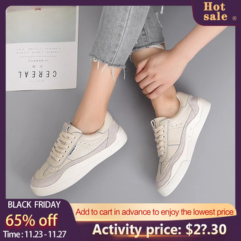 Causal Flat Shoes Women Lace up Female Shoes Off White 2020 Autumn Fashion Breathable Comfort Shoes For Women Hot Sale 831645
