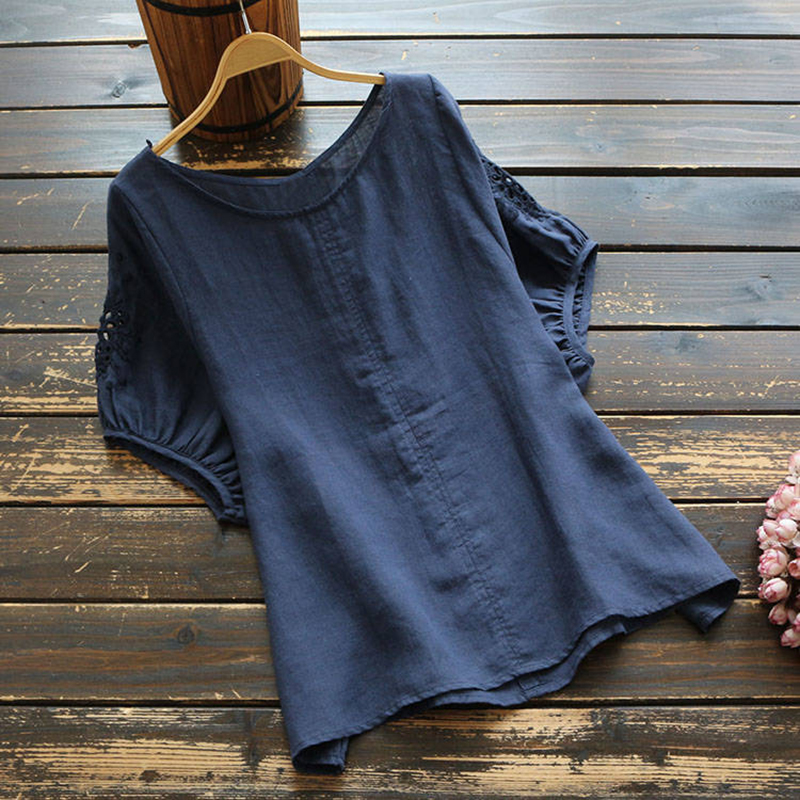 New Arrival Summer Women Tshirt Plus Size Embroidery Hollow Out Batwing Sleeve Loose Tee Shirt Femme Cotton Linen Tops D353