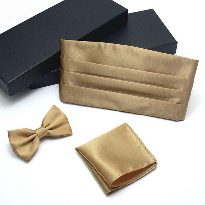 Mens Formal Silk Golden Blue Cummerbunds Bow Ties Hanky Cufflinks Set Men s Adjustable Pleated Tuxedo