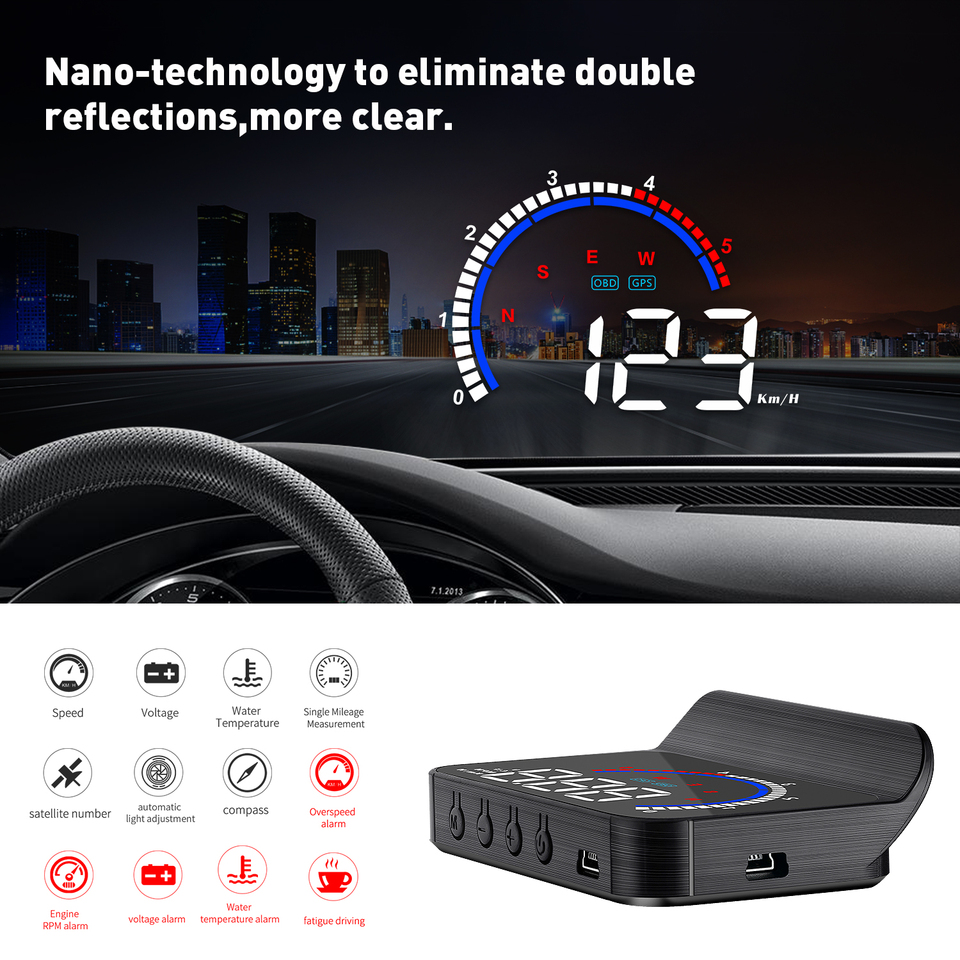 ePathChina 3.5 Inch Car HUD Head Up Display Speedometer OBD2 II EUOBD Auto Projector Parameter Display with Overspeed Warning Function