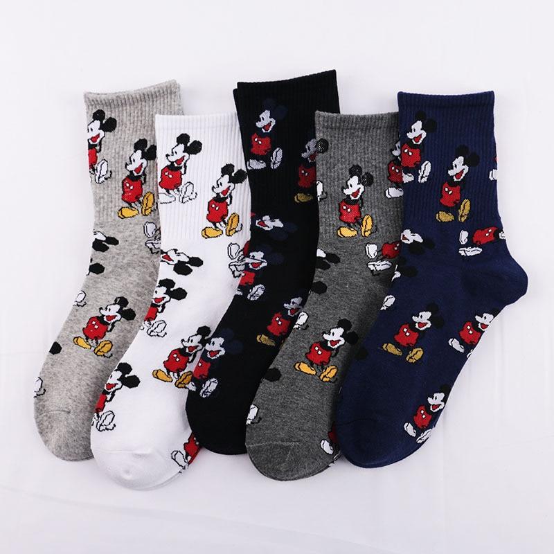 Autumn And Winter Fashion Men's High Quality Cute Mickey Minnie Duck Socks Harajuku Cartoon Socks Men's Sports Men's Socks