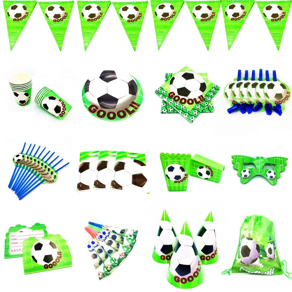 Украшение для футбольной вечеринки, одноразовая посуда на тему футбола, украшение для дня рождения, Детская Футбольная Вечеринка для мальч...