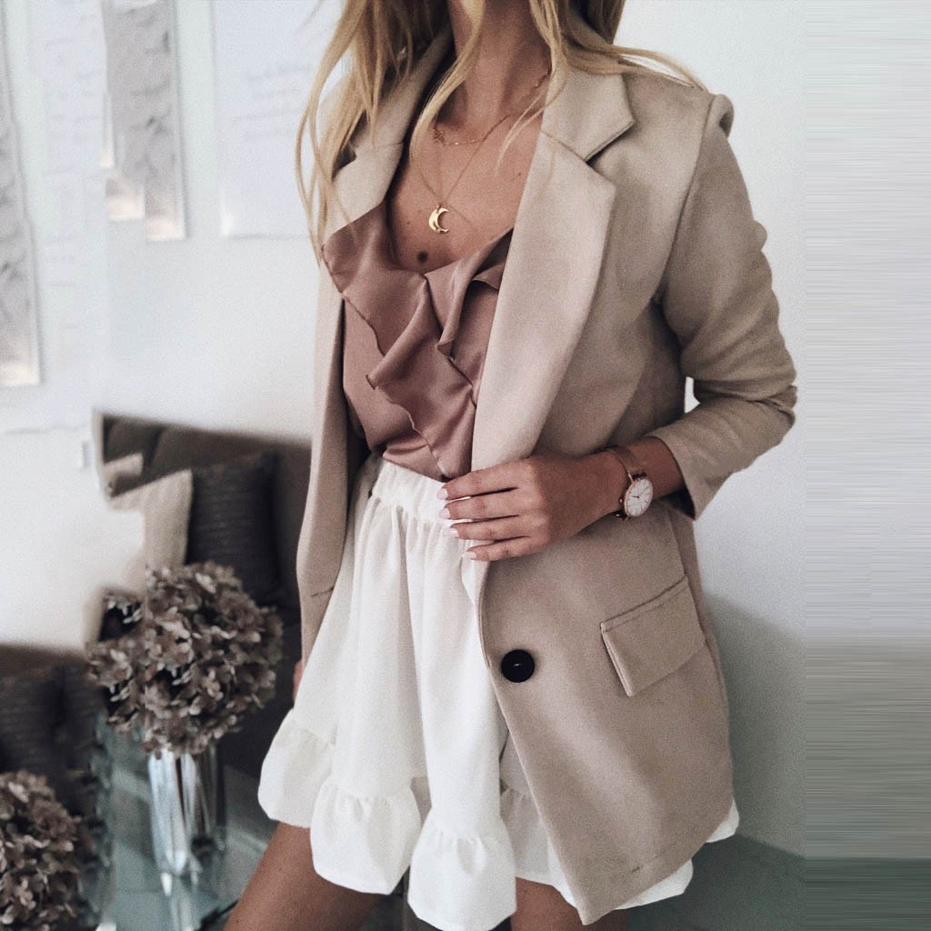 Casual Blazer Women Basic Notched Collar Solid Blazer Pockets Chic Tops Office Ladies Retro Single Button Suit Jackets Plus Size