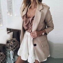Casual Blazer Women Basic Notched Collar Solid Blazer Pocket