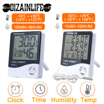 LCD Electronic Digital Temperature Humidity Meter Thermometer Hygrometer Indoor Outdoor Weather Station Clock HTC-1 HTC-2 1