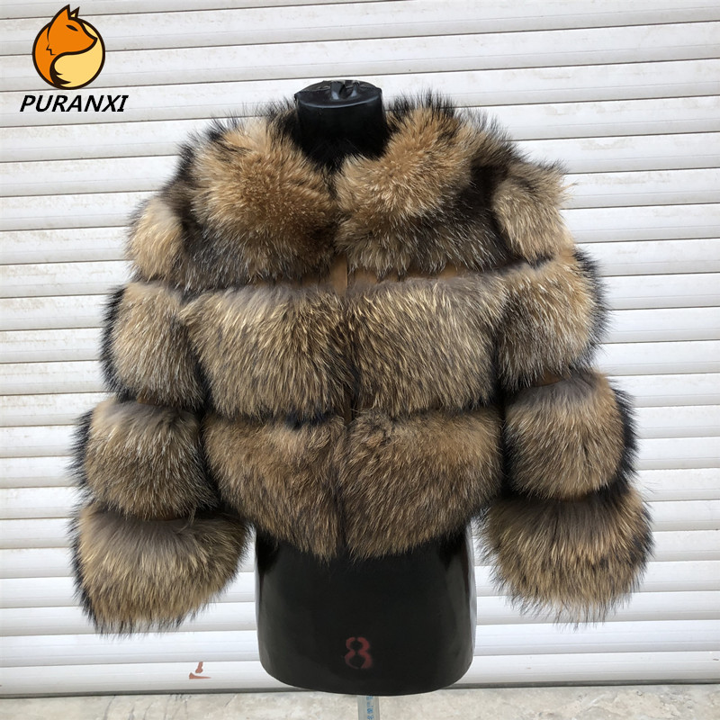 2019 new style women's natural real raccoon fur coat jacket winter female short thick warm luxury slim round neck high quality title=