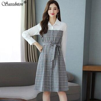 Vestido elegante a cuadros de manga larga para mujer, vestido de verano 2020 a la moda de oficina para mujer, Vestido largo de fiesta de línea A, vestido Vintage