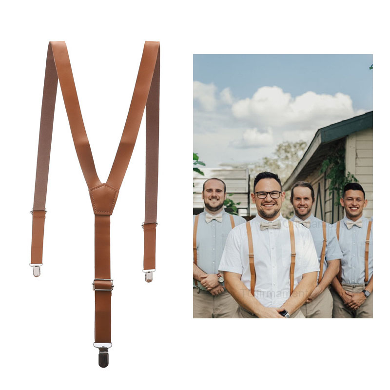 118*2.2cm Mens Womens PU Leather Suspenders Y-Back Retro Braces Clip-On Special Occassion Wear