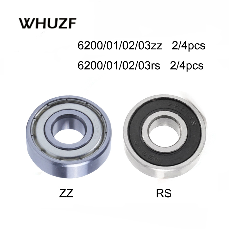 2/4PCS Deep Groove Ball Bearings 6200Z 6201RS 6202zz 6203rs 6204 6205 6206 6207 6208 ZZ 2RS