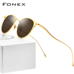 FONEX, чистые титановые солнцезащитные очки, мужские, высокое качество, Круглые, поляризационные, солнцезащитные очки для женщин, 2019, новинка, ...