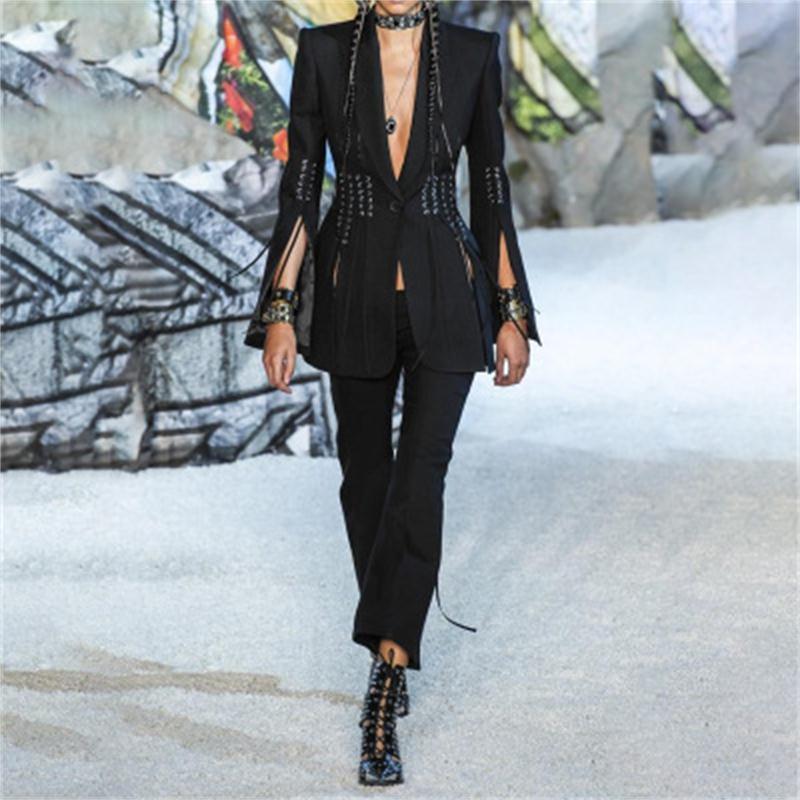 Fashion Blazer Female Spring New Runway Design One Buckle Girdle Waist Thin Slit Split Long Sleeve Casual Blouse Women Blazers