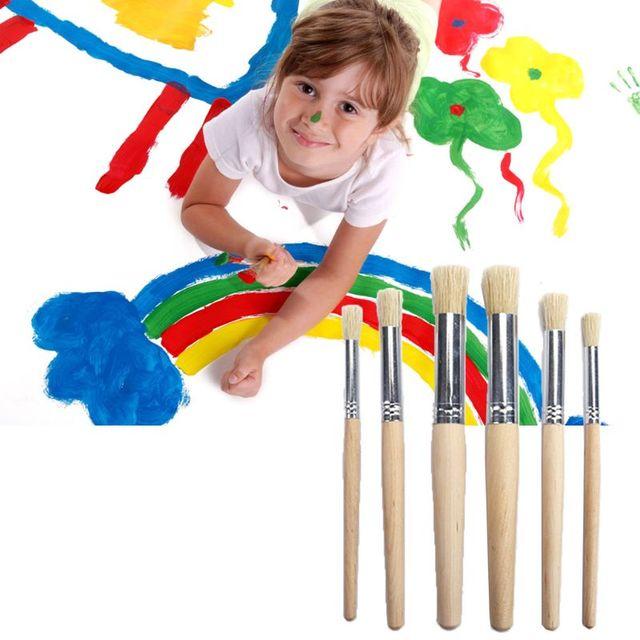 6 pièces/ensemble aquarelle peinture pochoir brosse manche en bois enfants étudiant Art création fournitures