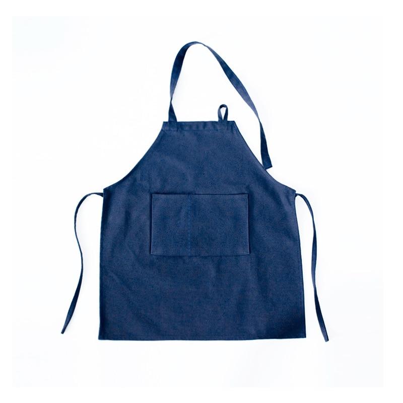 Modern Minimalist Origional Solid Color Sleeveless Dark Blue Canvas Baby Bib Kindergarten Painted Pottery Bakery|Oversleeves| |  - title=