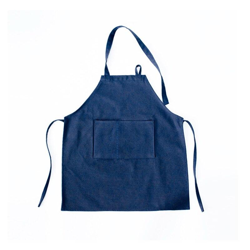 Ev ve Bahçe'ten Kol Kılıfları'de Modern Minimalist orijinal düz renk kolsuz koyu mavi tuval bebek önlüğü anaokulu boyalı çömlek fırın title=