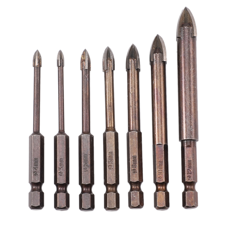 7Pcs/Set Tungsten Carbide Glass Drill Bit Set Alloy Carbide Point With 4 Cutting Edges Tile & Glass Cross Spear Head Drill Bits