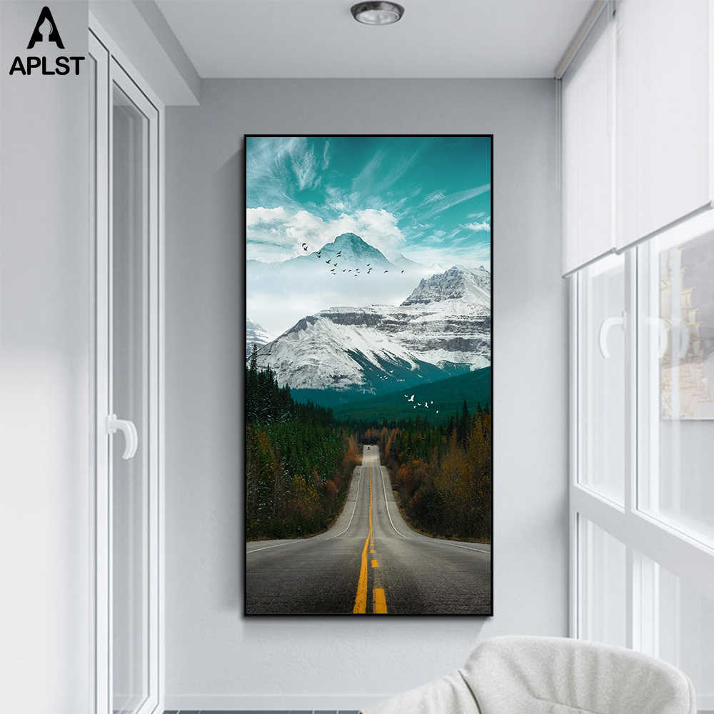 Fliegen Vögel Wald Leinwand Drucke & Poster Nordic Landschaft Snowy Mountain Road Malerei Bild Druck Wand Kunst Wohnkultur