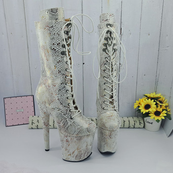 Leecabe  White Snake 20CM/8inches Pole dancing shoes High Heel platform Boots closed toe Pole Dance boots jialuowei 20cm heel snake print hologramlace up thigh high pole dance platform faishion boots