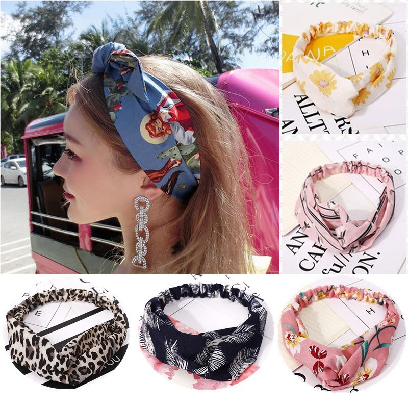 Summer Hair Bands Soft Cross Turban Hairband Women Hair Accessories Girls Headband Fabric Floral Hair Band Ladies Hoop