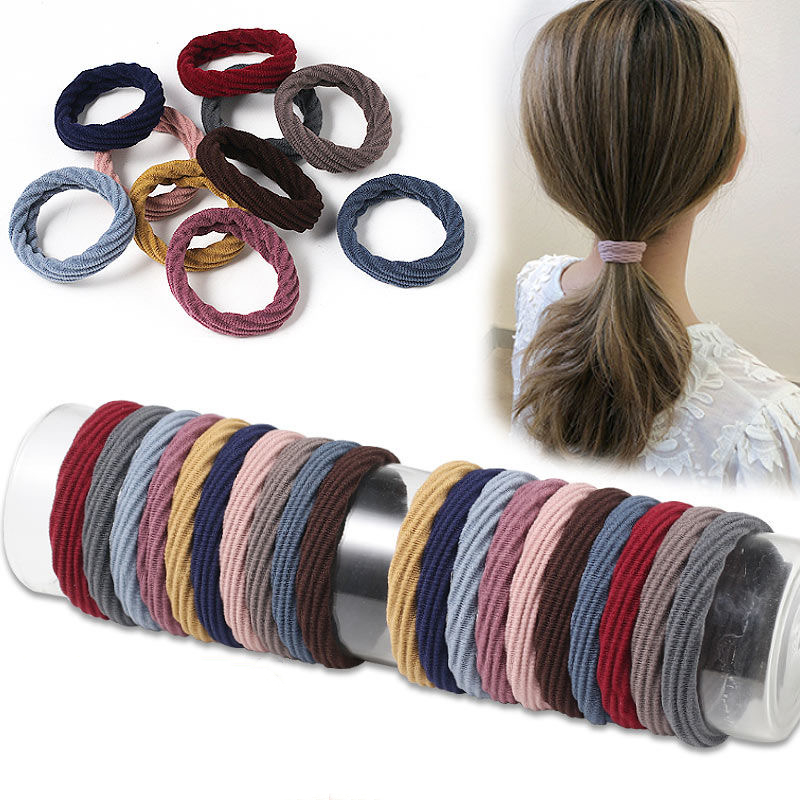 New 15PCS Women Girls Simple Basic Elastic Hair Bands  Women Girls Elastic Thick Rubber Bands Hair Accessories Diameter 5.5cm