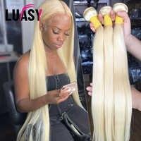 LUASY 613 rubia mechones brasileño mechones de cabello humano postizo mechones recto 100% extensiones de cabello Remy de pelo largo 30 de 40 pulgadas