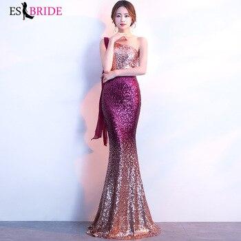 Sequined Evening Dresses 2019 ES3008-1 Elegant Mermaid Long One Shoulder Backless Blue Sliver Formal Party Gowns Robe De Soiree