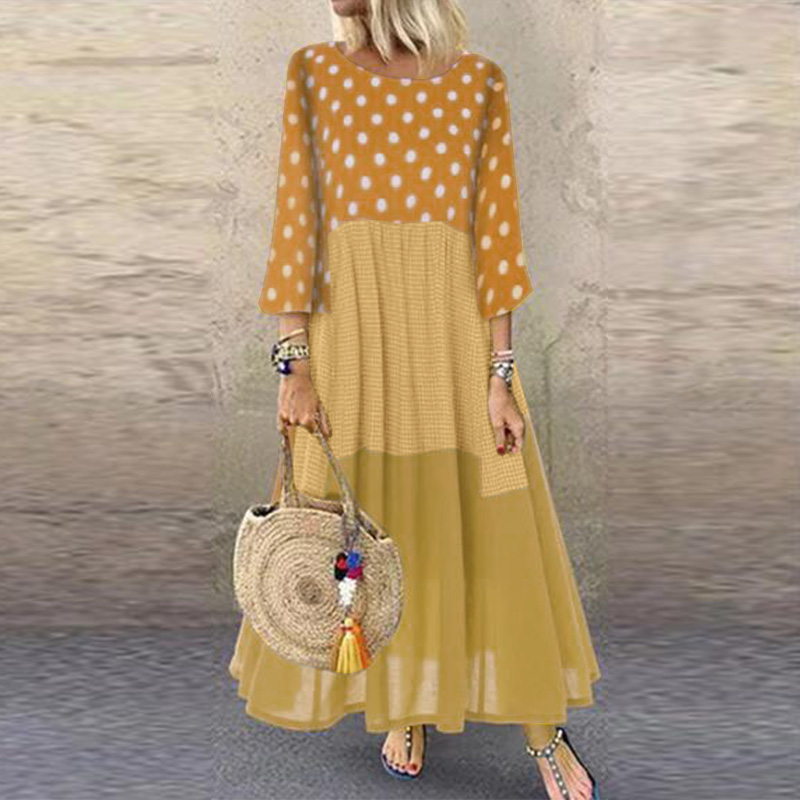 ZANZEA 2019 Women Cotton Linen Dresses Casual Vintage Patchwork Sundress Autumn Polka Dot Long Dress Vestido Femme Robe Baggy