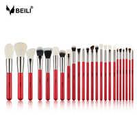BEILI rouge 24 pièces pinceaux de maquillage professionnel ensemble poudre de cheveux naturelle fond de teint fard à joues