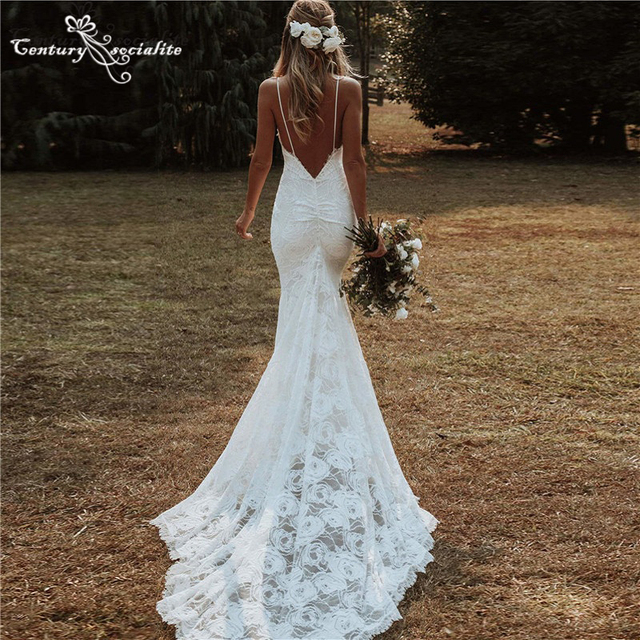 Boho Mermaid Wedding Dresses 2021 Spaghetti Straps Backless Sexy Beach Bride Dresses Bohemian Bridal Gowns Vestido De Noiva 2