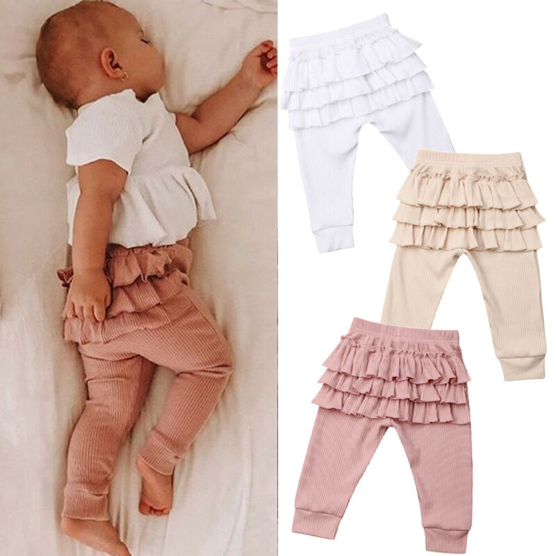 Newborn Kids Baby Girls Pants Elastic Waist Leggings Ruffles Long Pants PP Trouser Bottoms 0-3 Years