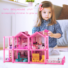 Dollhouse Kit Doll House Accessories Mini House DIY Doll House Dollhouse Miniature Furniture Family Doll House Toys for Children цена 2017