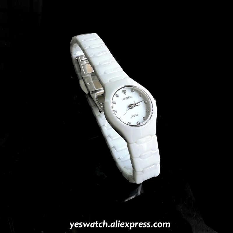 HAIYES céramique femmes montre haut marque de luxe cristal analogique robe féminine montres à Quartz nouvelle femme élégante dames montre-bracelet