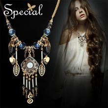 Special New Fashion Statement Necklace Natural Opal Maxi Enamel Gold-plated Necklaces Pendants Gift for Women XL151015