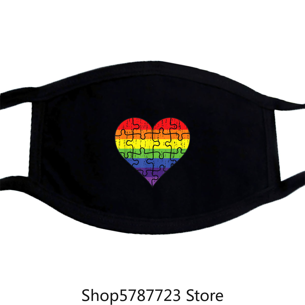 Autism Awareness Rainbow Puzzle Heart Mask