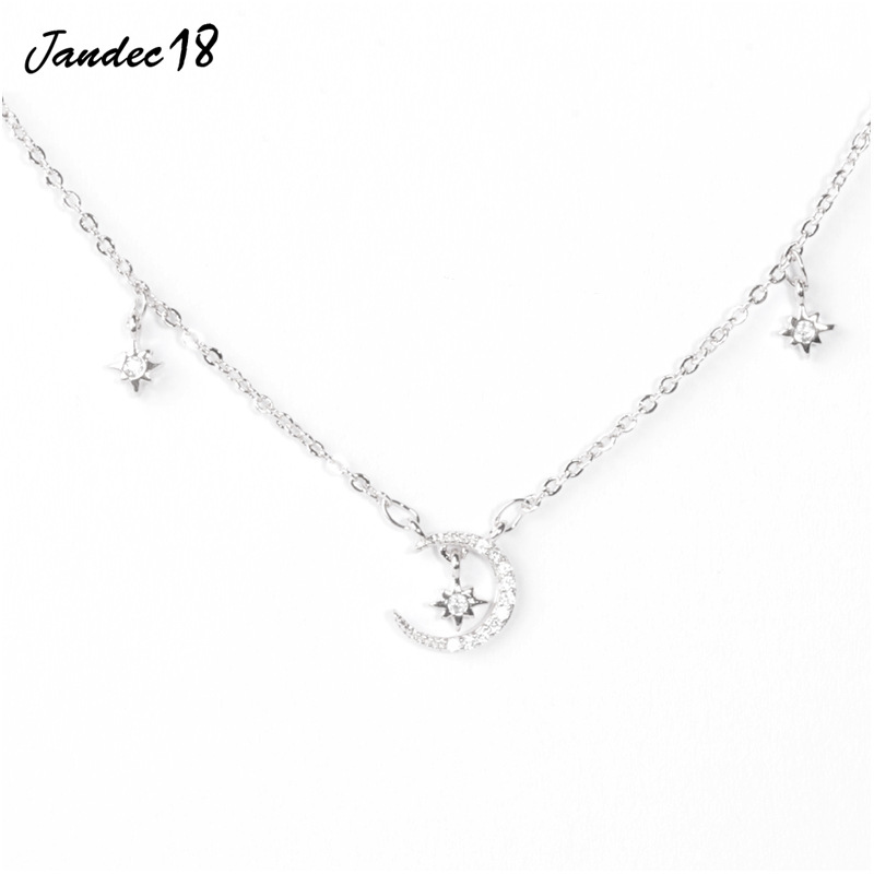 Elegant Moon Collars Charm Choker Aesthetic 925 Sterling Silver Clavicle Chain Colorful Star Necklace Women Jewelry Accessories