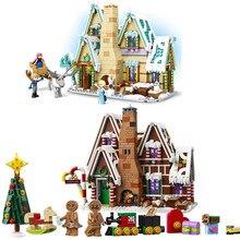 Создатель города зимняя деревенская Праздничная сцена пряничный домик Санта Клаус лося строительные блоки кирпичи Legoinglys игрушки 10267