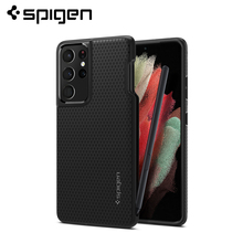 "Spigen Liquid Air (Pen Edition) Case for Samsung Galaxy S21 Ultra (6.8"")   Matte Black Anti Slip Lightweight Thin Cases & Covers"