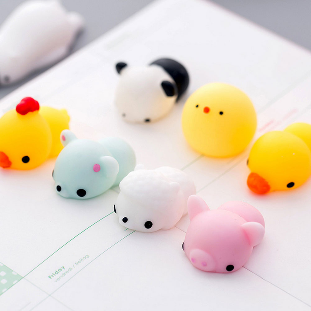 Kawaii Animal Mochi Squishies Toys Cute Mini Soft Squishy Animal Shape Pig Chick Cat Tiger Stress Relief Balls Kids Adult Toys