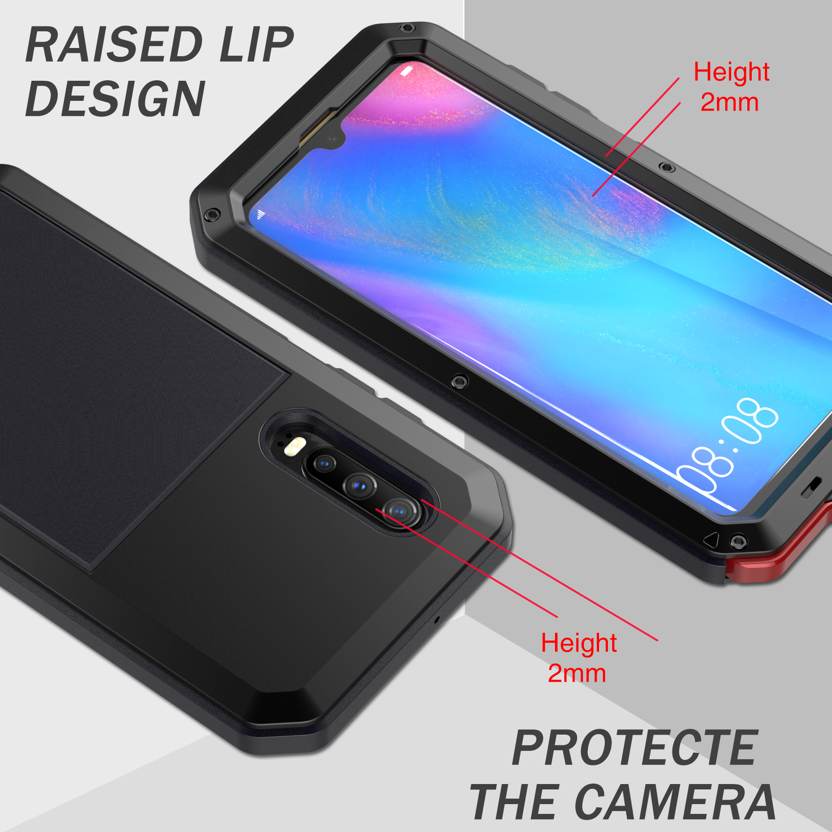 Image 5 - Heavy Duty Protection armor Metal Aluminum phone Case + Tempered Glass for HuaWei Mate 20 pro P30 pro Shockproof Dustproof CoverFitted Cases   -