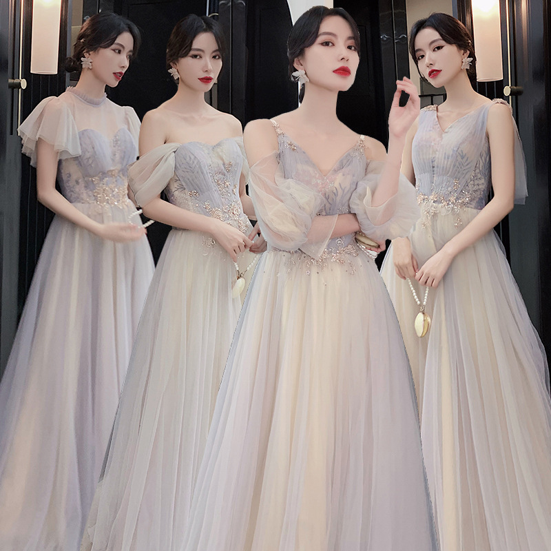 Shining Bridesmaid Dresses Puff Sleeve Backless Vestido De Festa V-Neck Elegant Women Gown Short Sleeve Wedding Guest Dress R026
