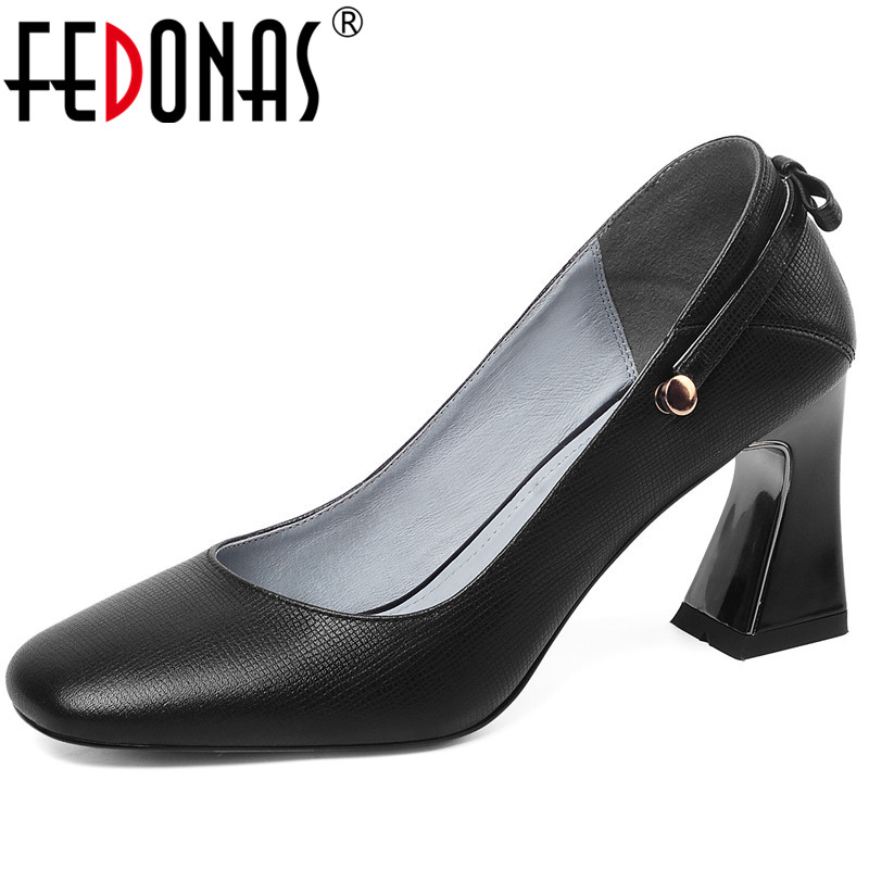 FEDONAS Women Pumps Butterfly Knot Lace Up Cow Leather Concise Popular Fashion Working Prom Shoes Spring Summer Shoes Woman