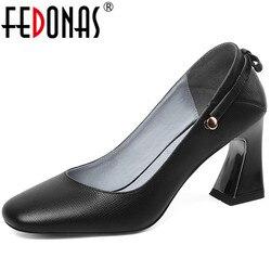 FEDONAS zapatos de tacón tipo mariposa con nudo encaje cuero de vaca conciso moda Popular zapatos de baile de graduación primavera verano Zapatos mujer