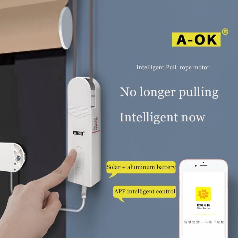 A-OK AM43 Aoke Electric Curtain Motor Smart Phone App Control Electric Roller Blinds Roman Curtain Soft Curtain EU/USspecificati