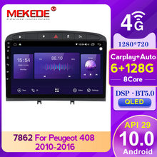 MEKEDE-Radio Multimedia con GPS para coche, Radio con reproductor, navegador, Android, 6 + 128G, API29, BT5.0, DSP, para PEUGEOT 308, 308S, 408, 2007-2012, QLED