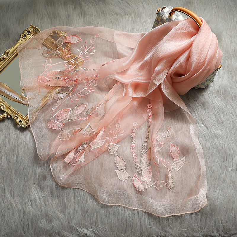 Women Silk Scarf Winter Shawls Warps Smooth Wool Pashmina Scarves For Ladies Warm Floral Bandana Foulard Stoles
